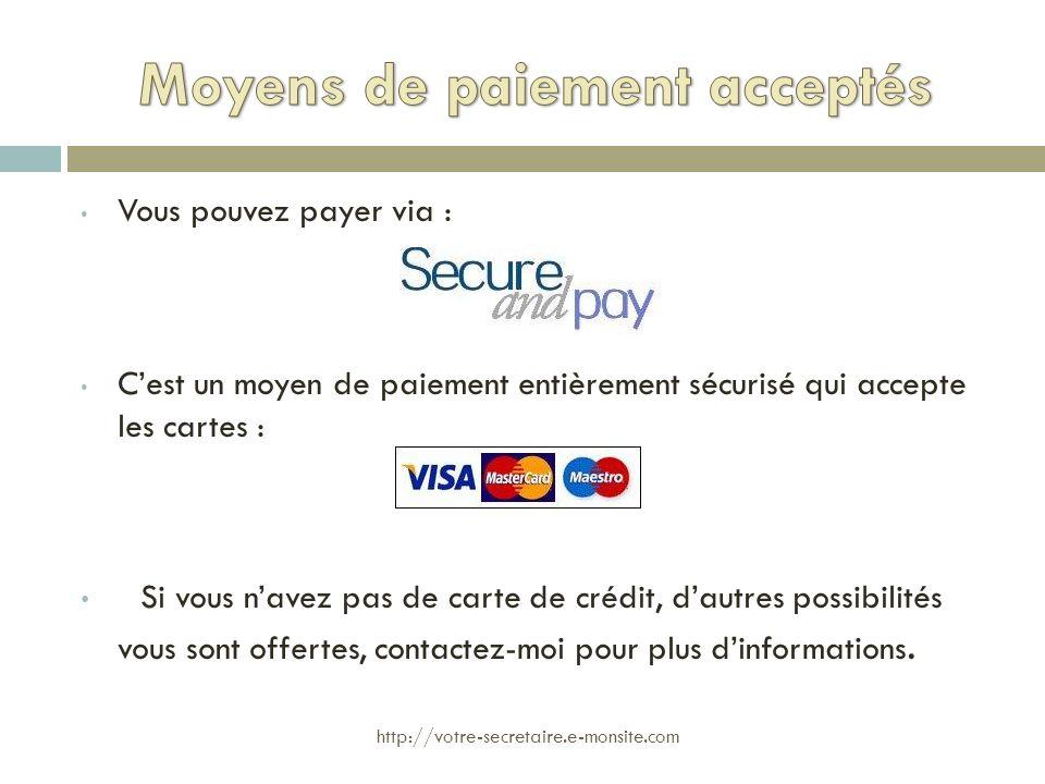 Moyens de paiement acceptés