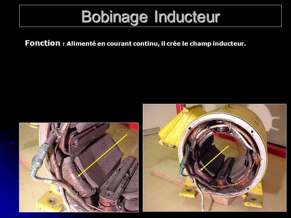 Bobinage Inducteur Fonction : Alimenté en courant continu, il crée le champ inducteur.
