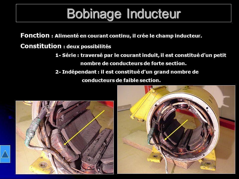 Bobinage Inducteur Fonction : Alimenté en courant continu, il crée le champ inducteur. Constitution : deux possibilités.