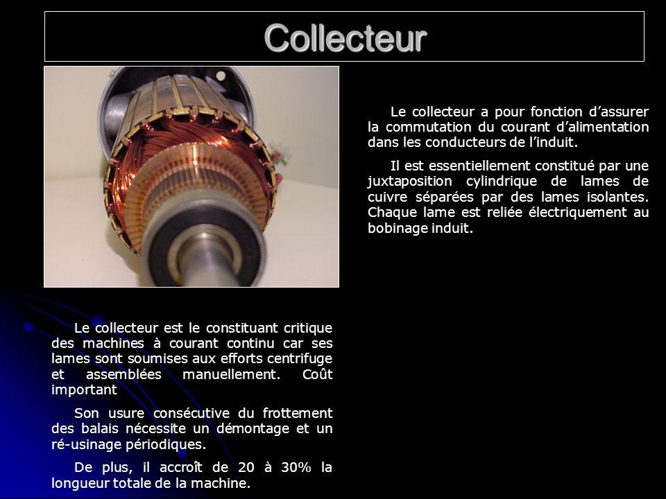 Collecteur Le collecteur a pour fonction d'assurer la commutation du courant d'alimentation dans les conducteurs de l'induit.