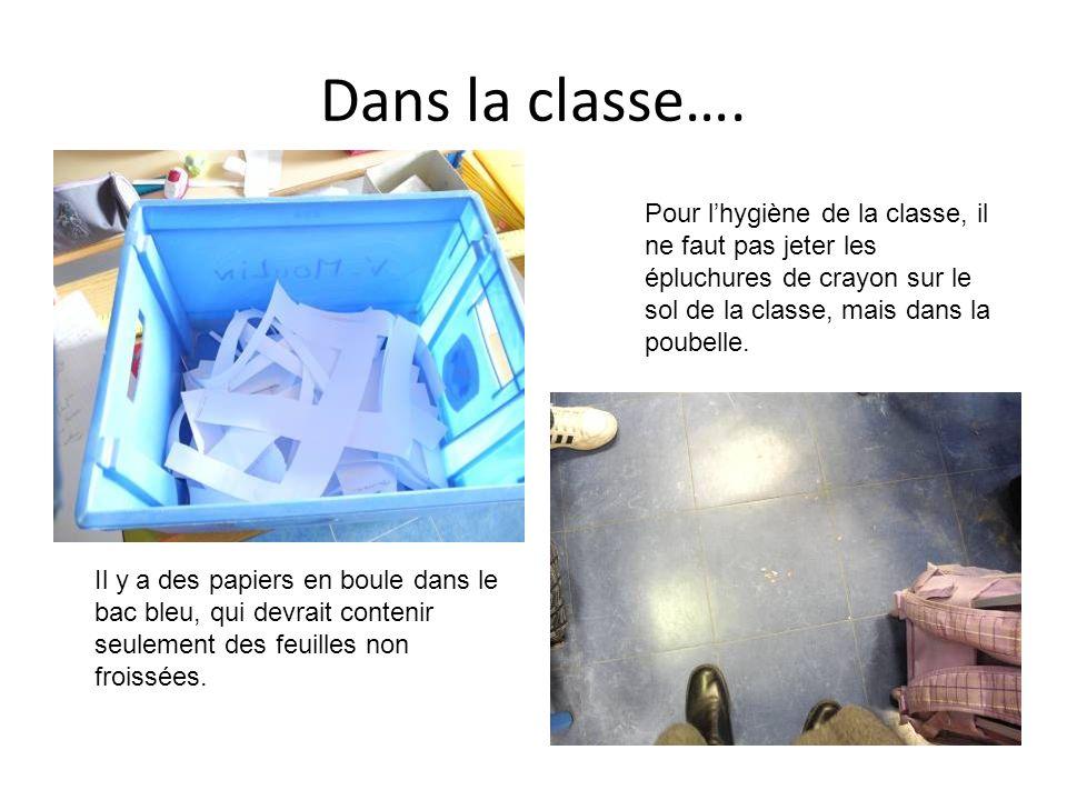 Dans la classe…. Pour l'hygiène de la classe, il ne faut pas jeter les épluchures de crayon sur le sol de la classe, mais dans la poubelle.