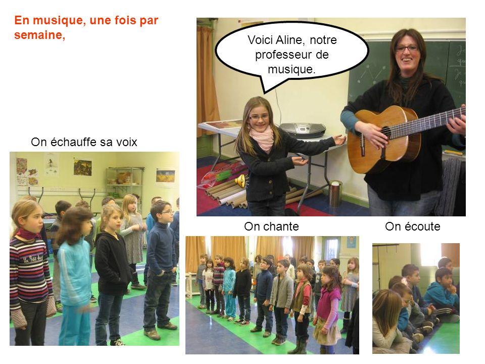 Voici Aline, notre professeur de musique.