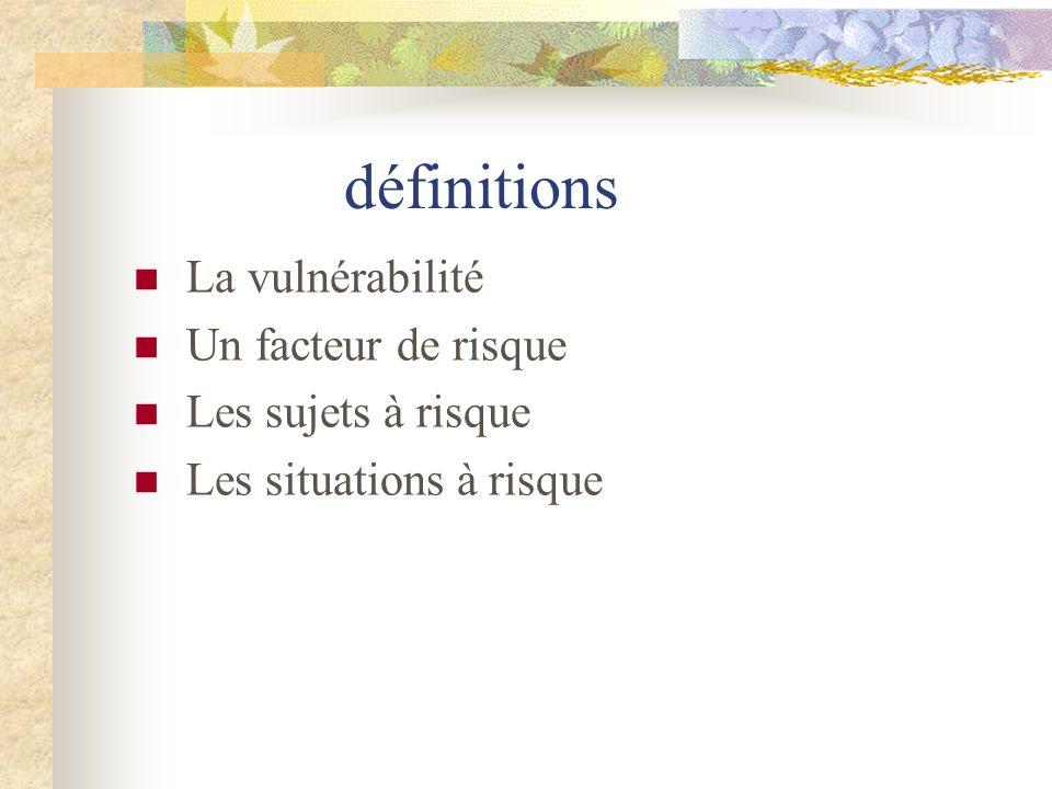 définitions La vulnérabilité Un facteur de risque Les sujets à risque