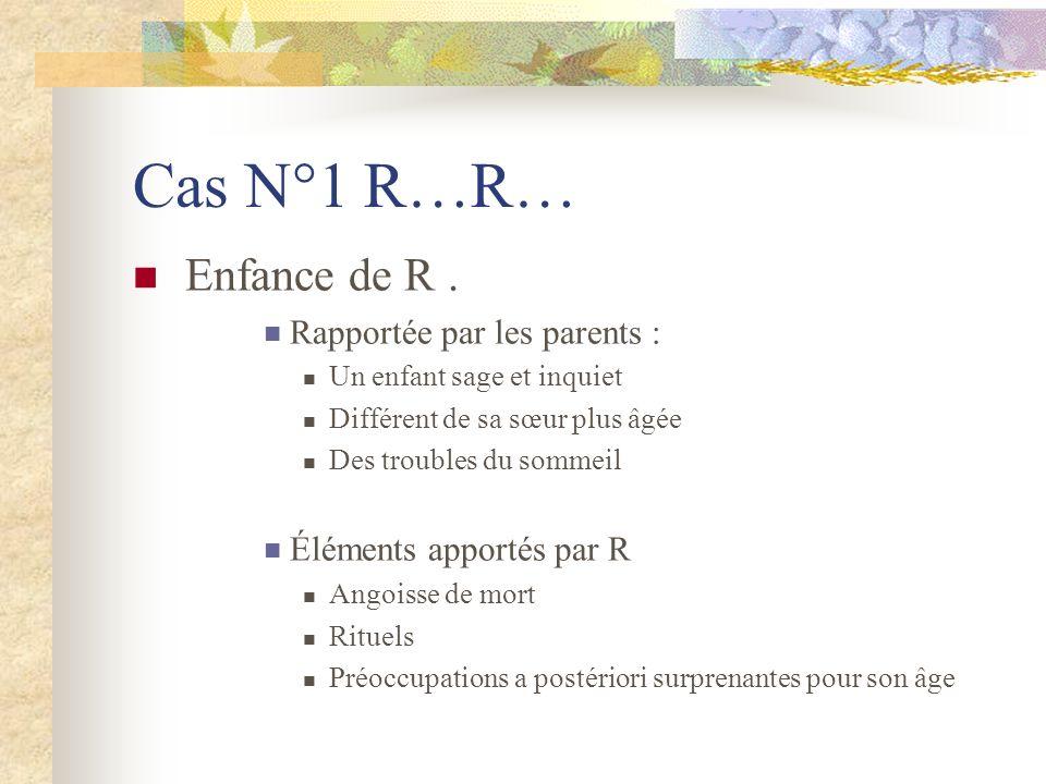 Cas N°1 R…R… Enfance de R . Rapportée par les parents :
