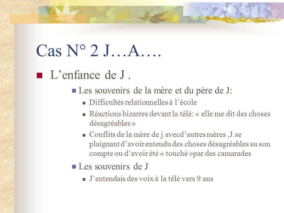 Cas N° 2 J…A…. L'enfance de J .