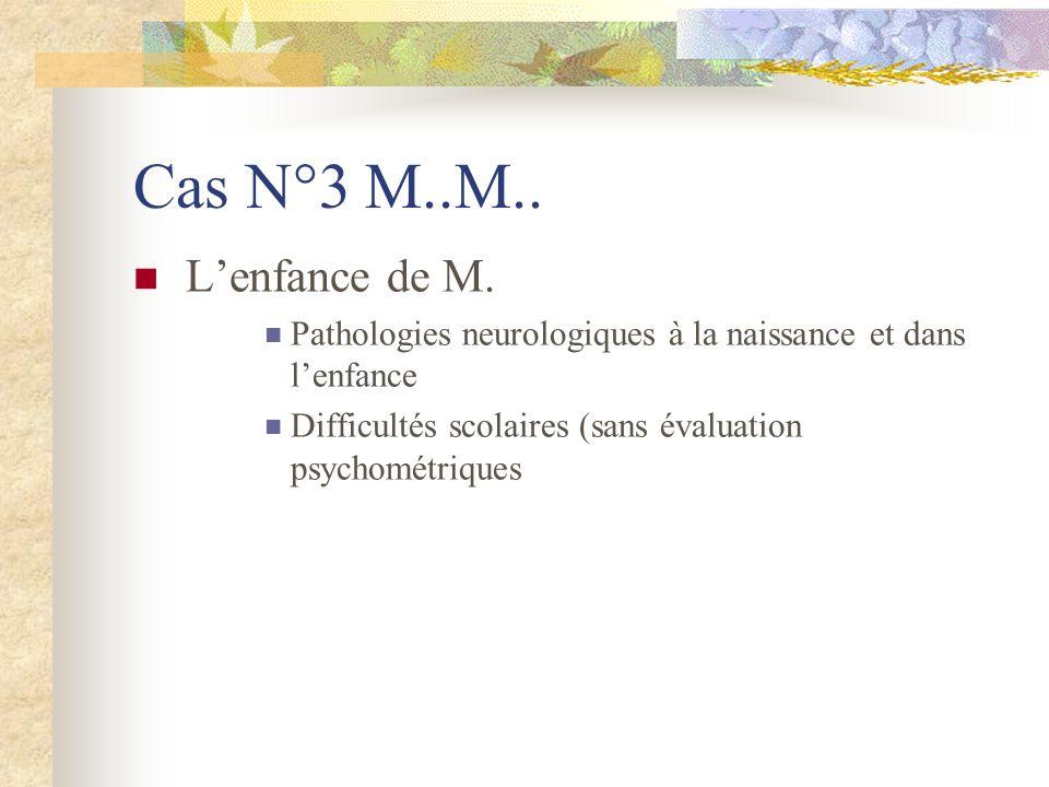 Cas N°3 M..M.. L'enfance de M. Pathologies neurologiques à la naissance et dans l'enfance.