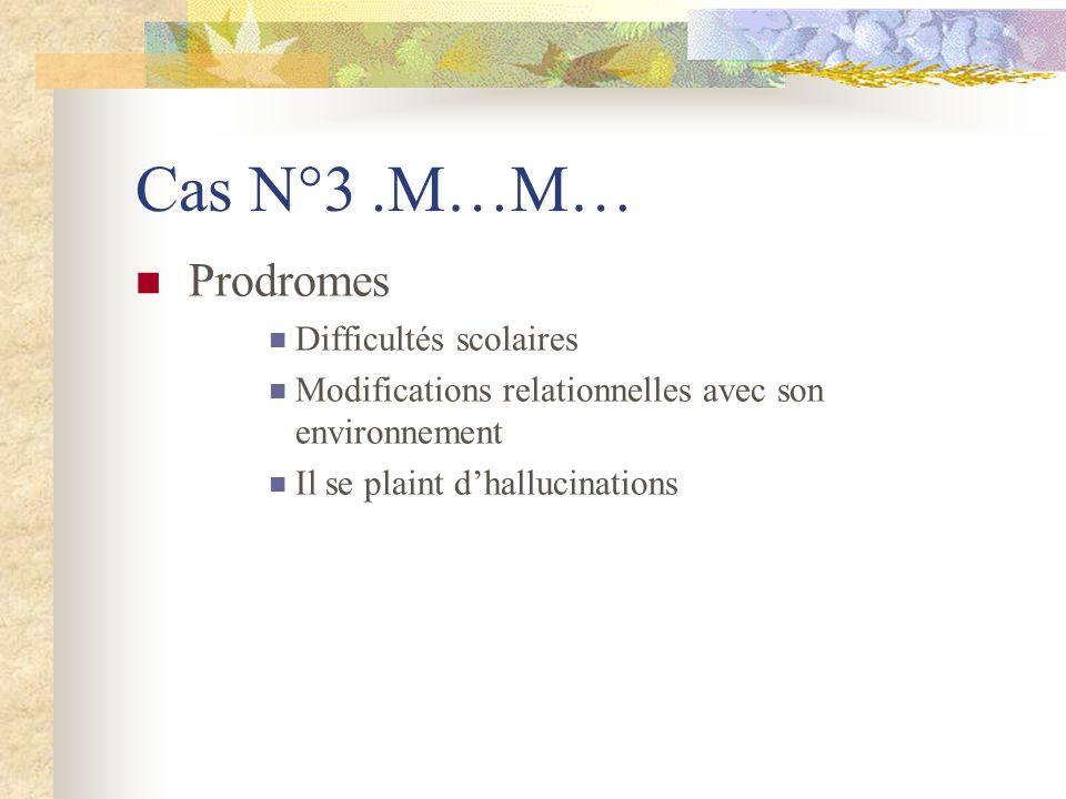 Cas N°3 .M…M… Prodromes Difficultés scolaires