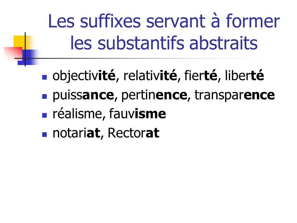 Les suffixes servant à former les substantifs abstraits