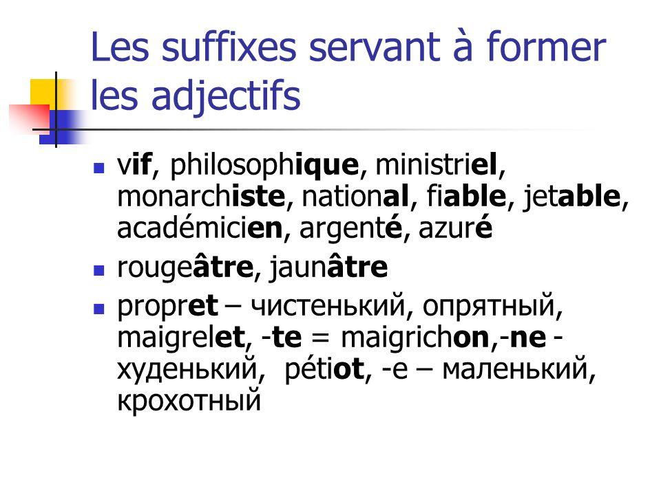 Les suffixes servant à former les adjectifs