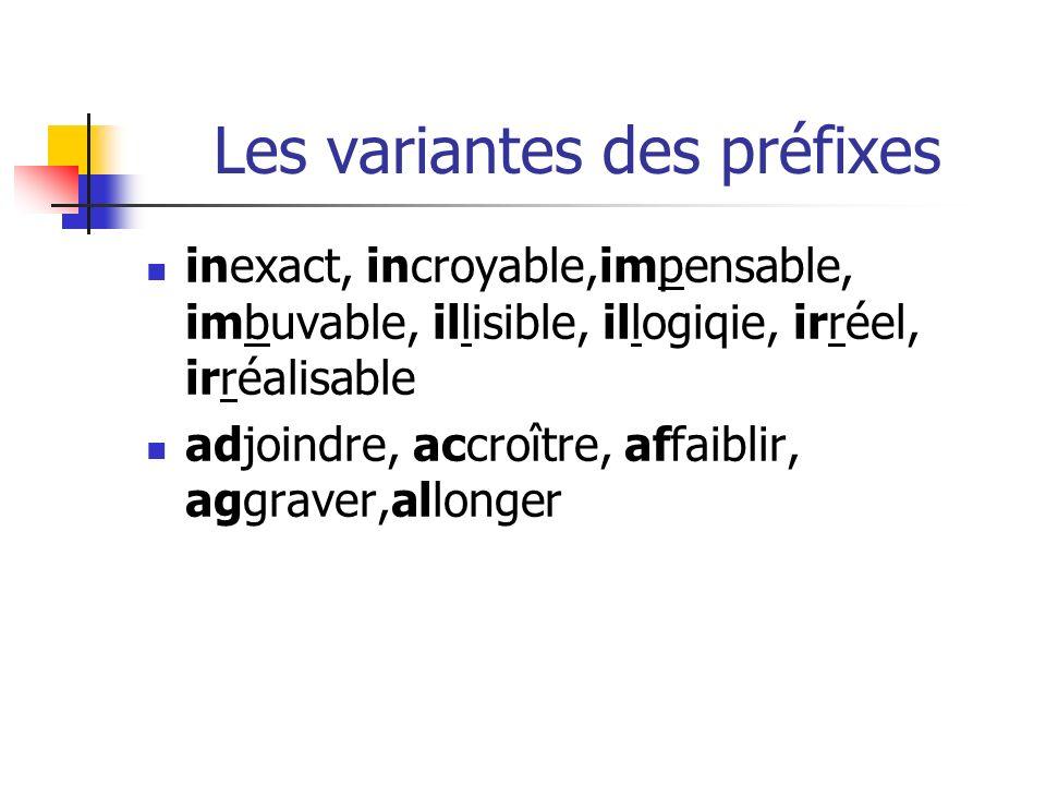 Les variantes des préfixes
