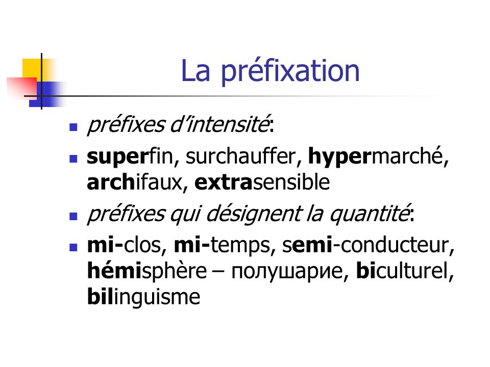 La préfixation préfixes d'intensité: