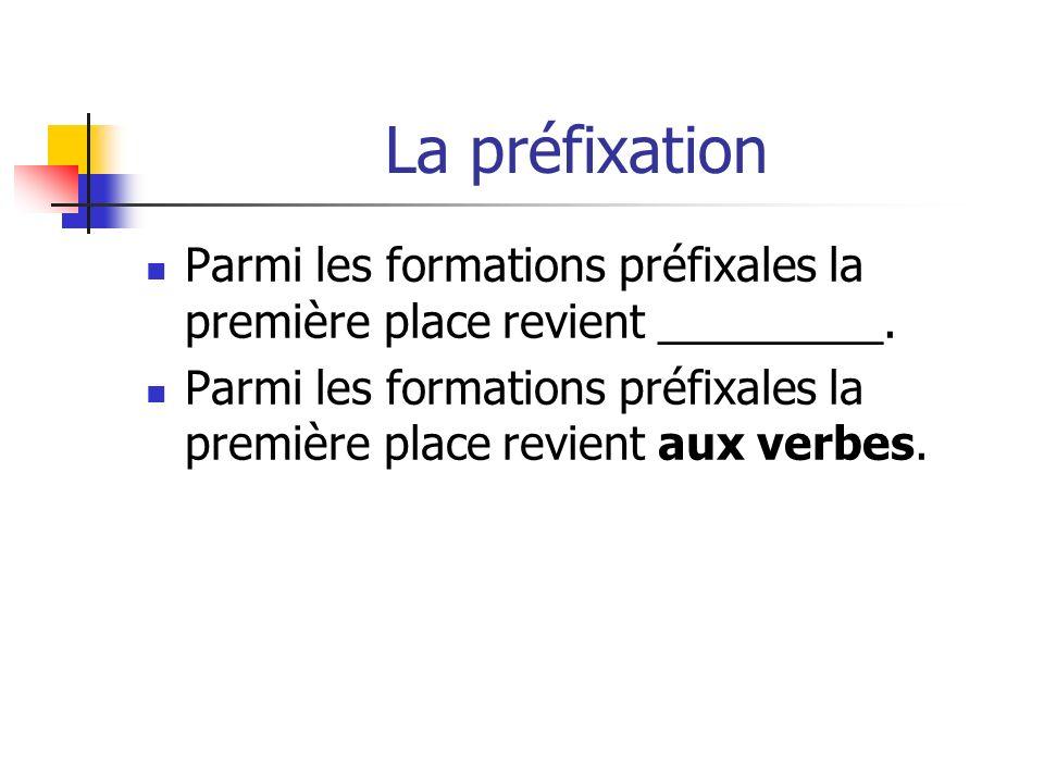 La préfixation Parmi les formations préfixales la première place revient _________.