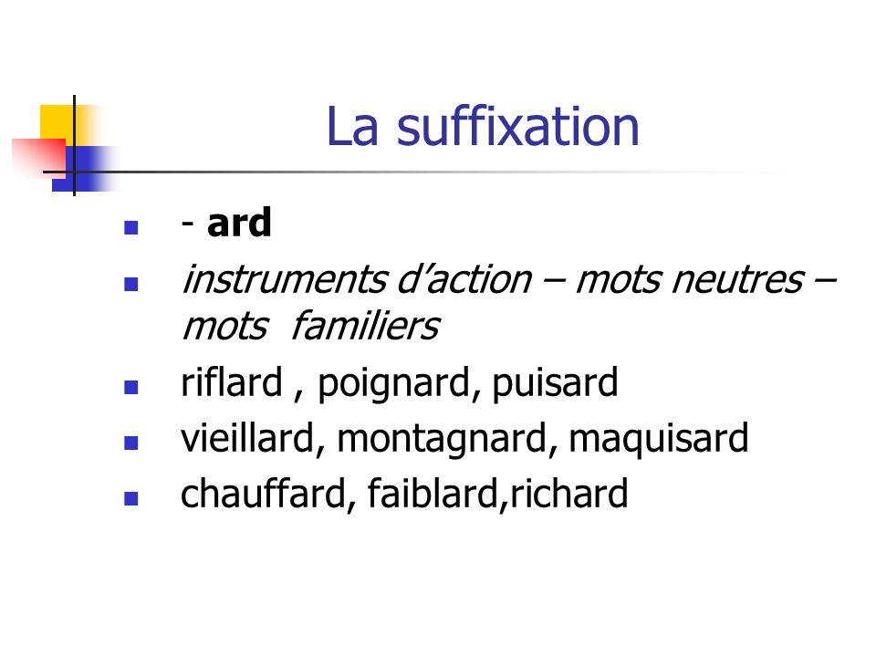 La suffixation - ard. instruments d'action – mots neutres – mots familiers. riflard , poignard, puisard.