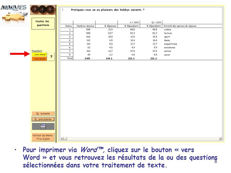 Pour imprimer via Word™, cliquez sur le bouton « vers Word » et vous retrouvez les résultats de la ou des questions sélectionnées dans votre traitement de texte.