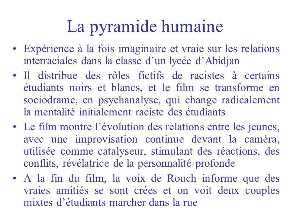 La pyramide humaine Expérience à la fois imaginaire et vraie sur les relations interraciales dans la classe d'un lycée d'Abidjan.