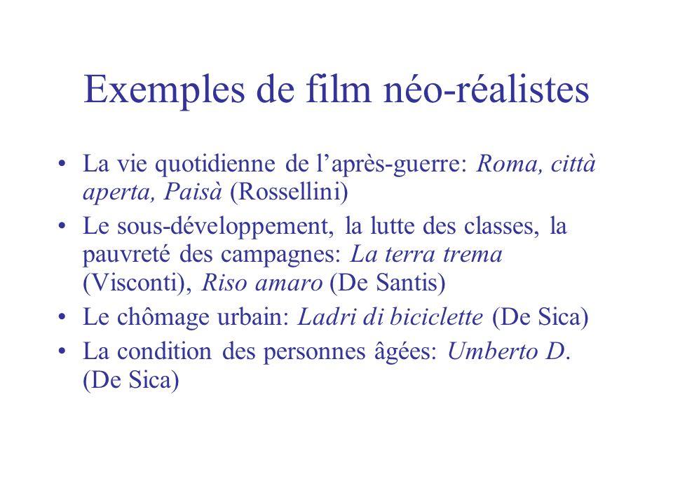 Exemples de film néo-réalistes