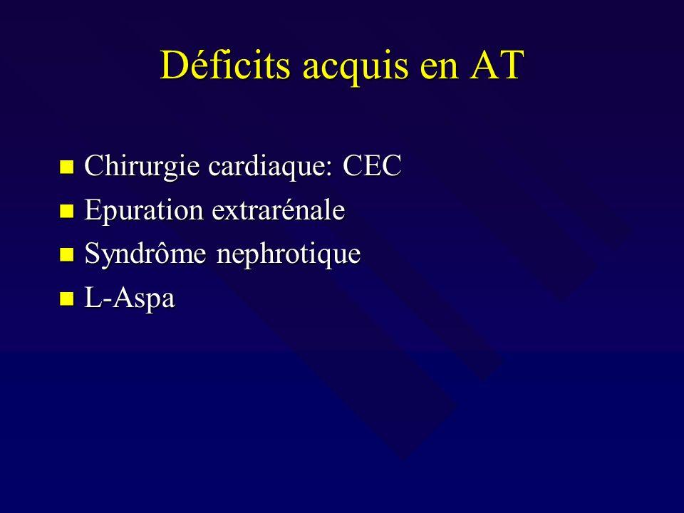 Déficits acquis en AT Chirurgie cardiaque: CEC Epuration extrarénale