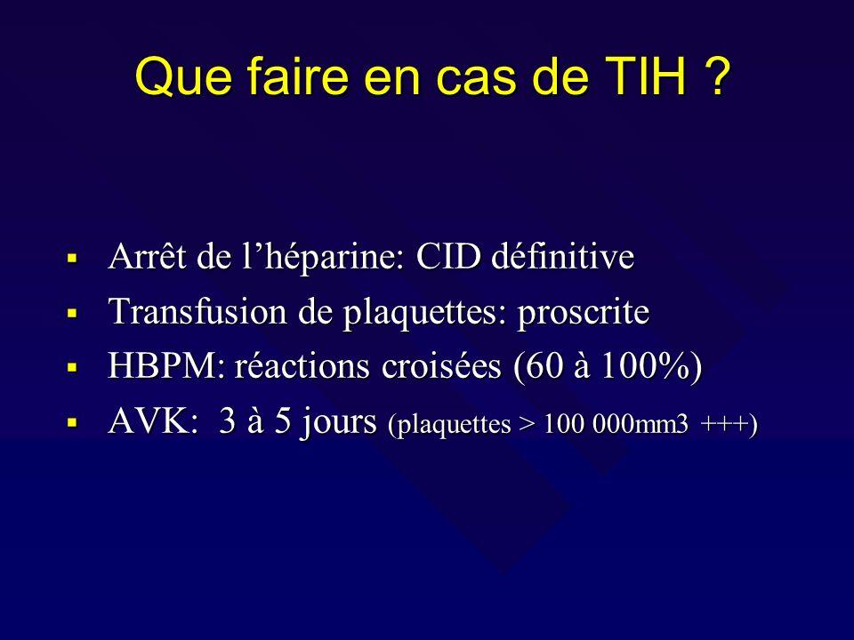 Que faire en cas de TIH Arrêt de l'héparine: CID définitive