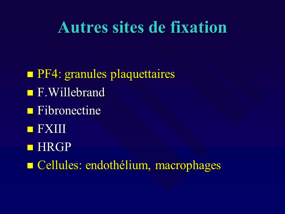 Autres sites de fixation
