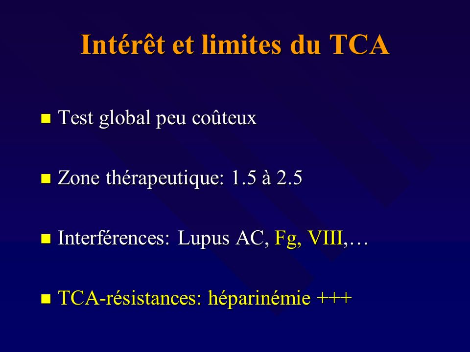 Intérêt et limites du TCA