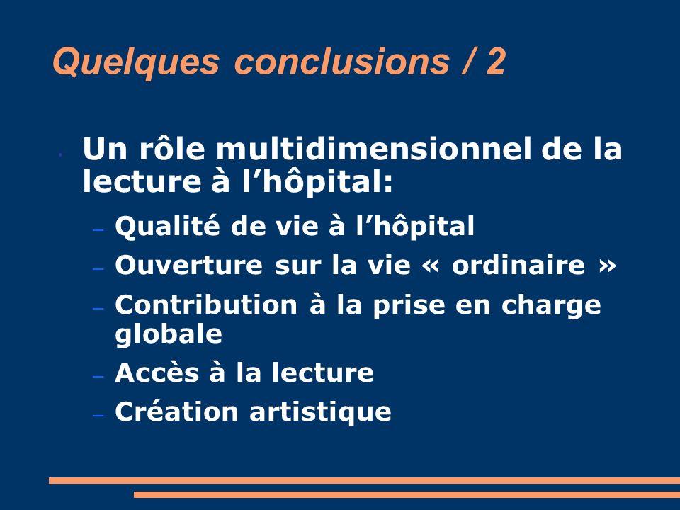 Quelques conclusions / 2