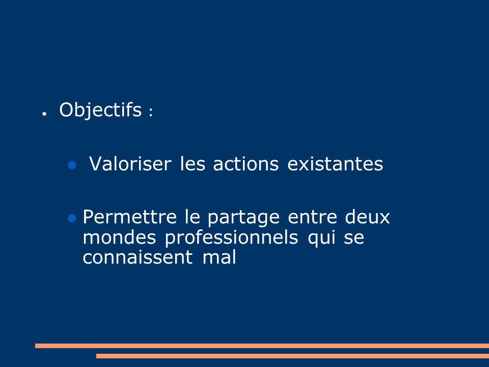Objectifs : Valoriser les actions existantes.