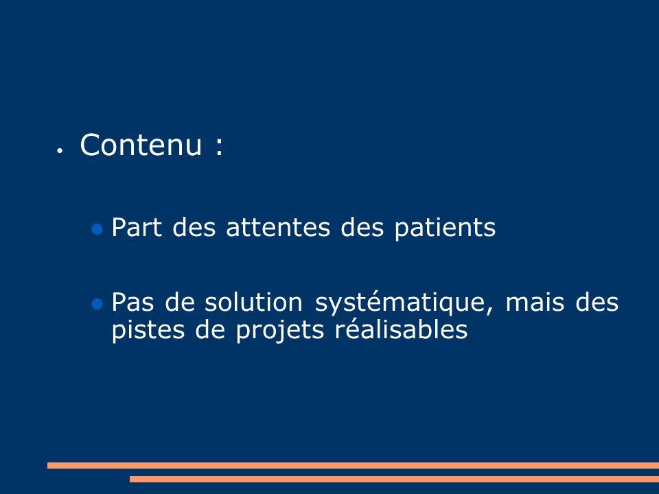 Contenu : Part des attentes des patients