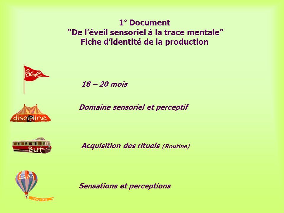 1° Document De l'éveil sensoriel à la trace mentale Fiche d'identité de la production