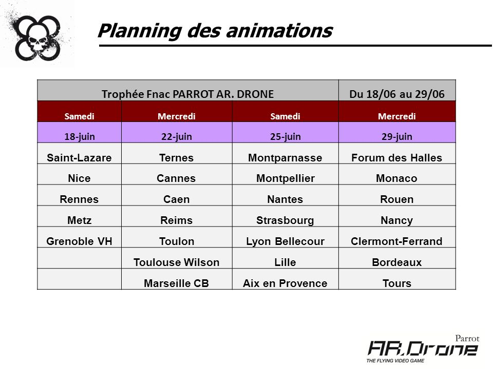 Planning des animations