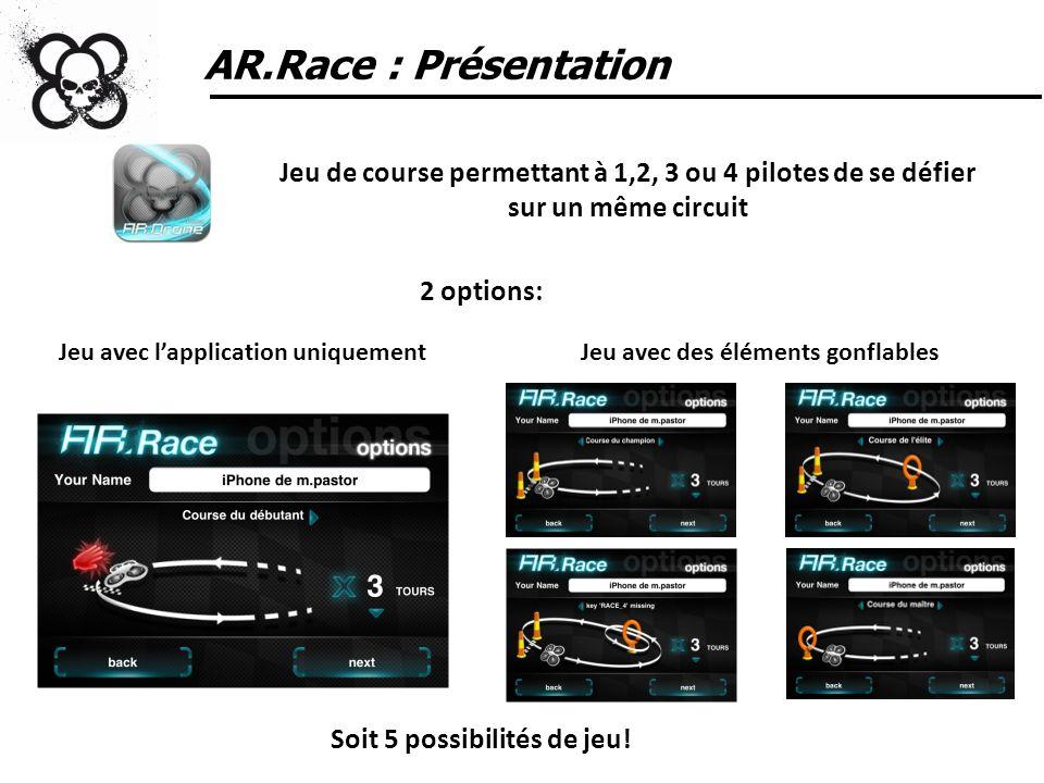 AR.Race : Présentation Jeu de course permettant à 1,2, 3 ou 4 pilotes de se défier sur un même circuit.