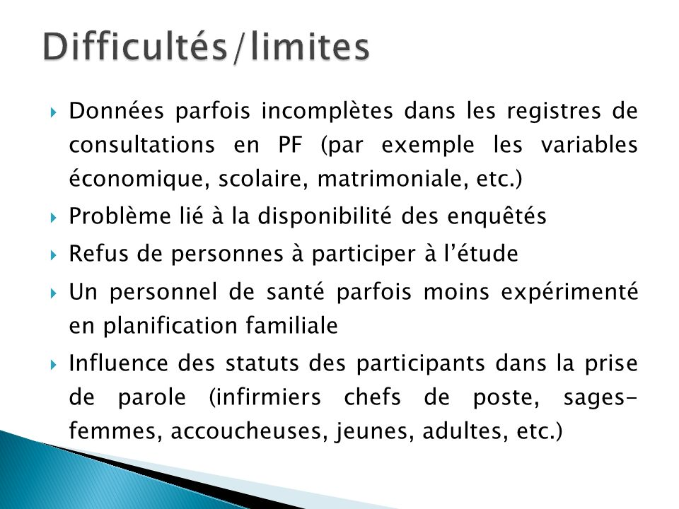 Difficultés/limites