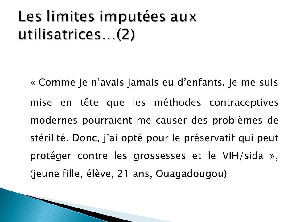 Les limites imputées aux utilisatrices…(2)