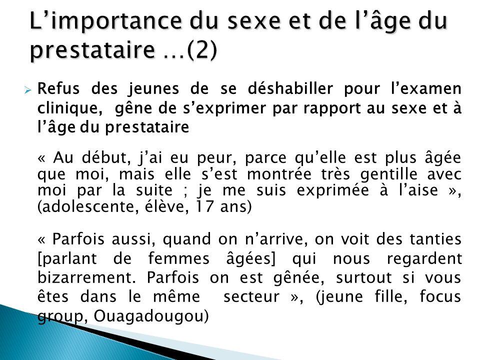 L'importance du sexe et de l'âge du prestataire …(2)