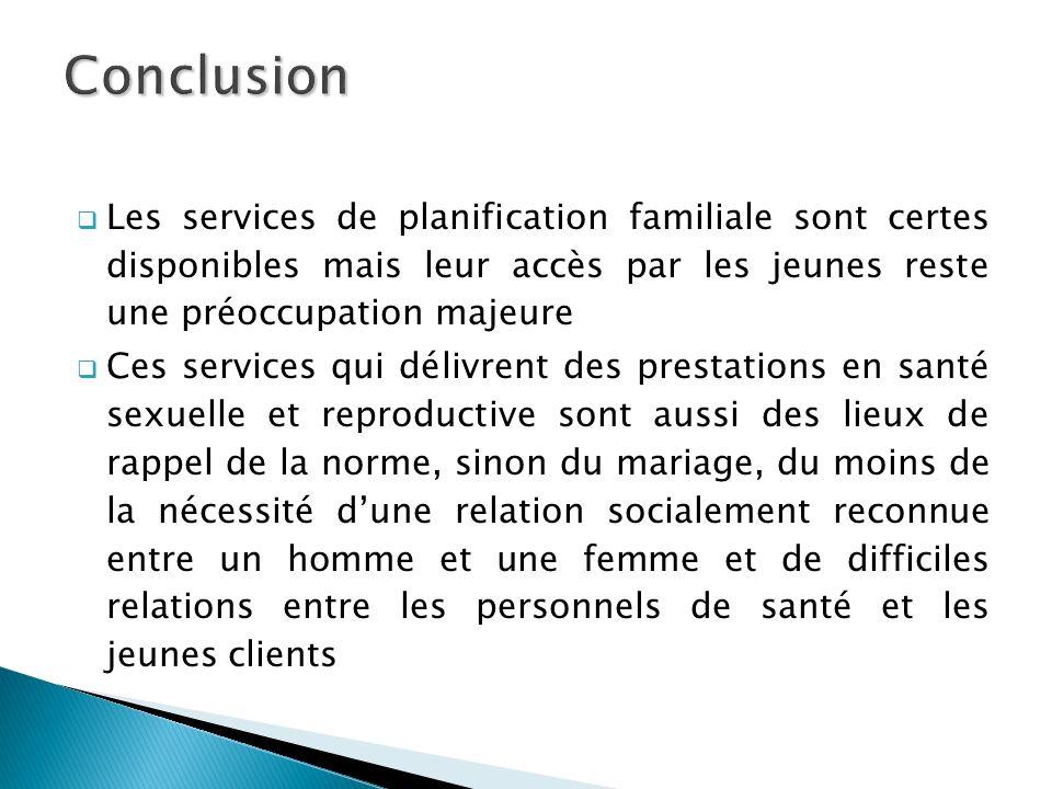 ConclusionLes services de planification familiale sont certes disponibles mais leur accès par les jeunes reste une préoccupation majeure.