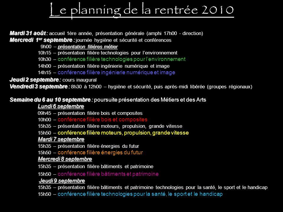 Le planning de la rentrée 2010
