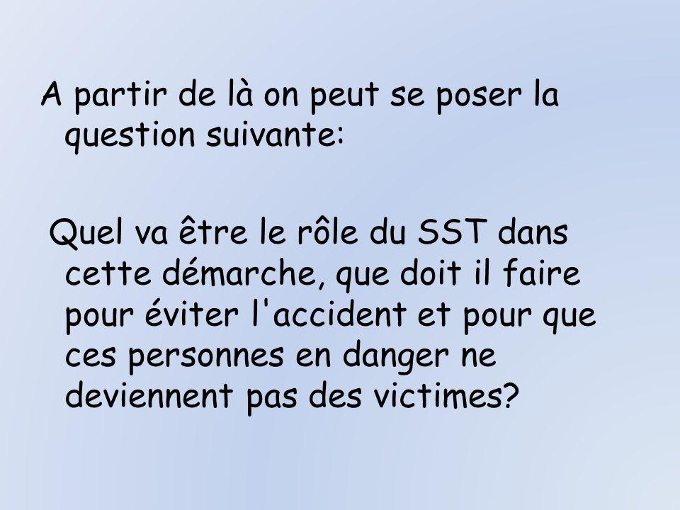 A partir de là on peut se poser la question suivante: Quel va être le rôle du SST dans cette démarche, que doit il faire pour éviter l accident et pour que ces personnes en danger ne deviennent pas des victimes
