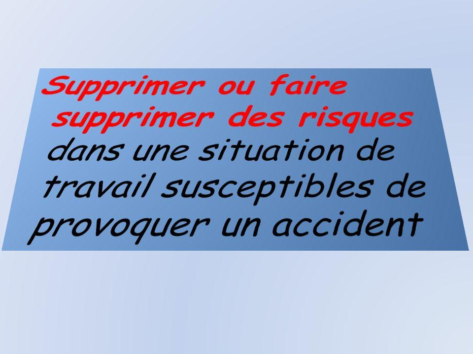 Supprimer ou faire supprimer des risques dans une situation de travail susceptibles de provoquer un accident
