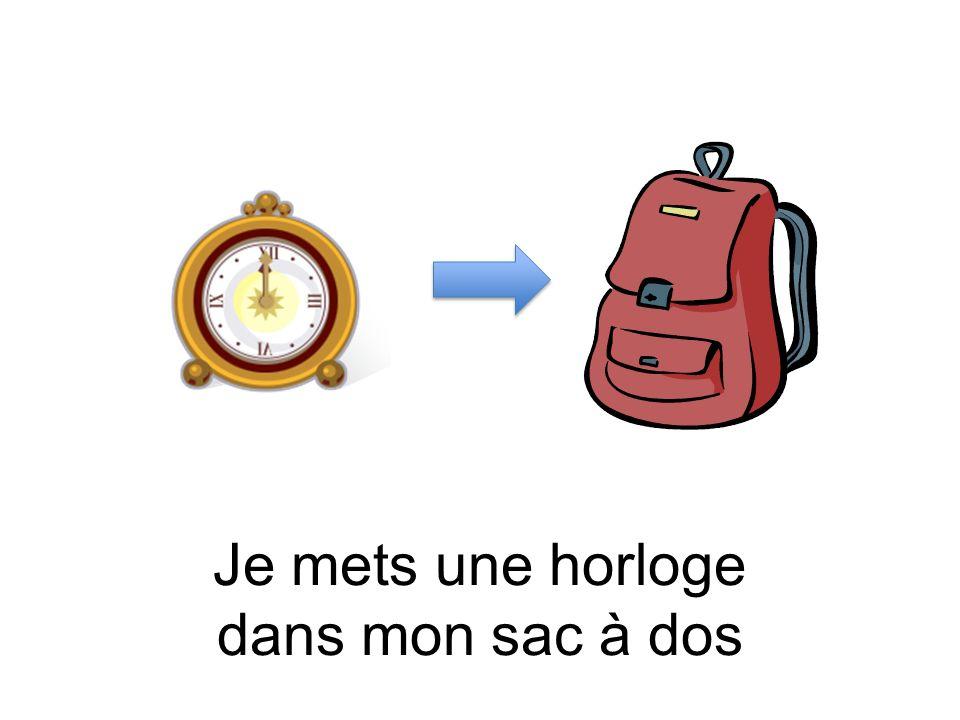 Je mets une horloge dans mon sac à dos