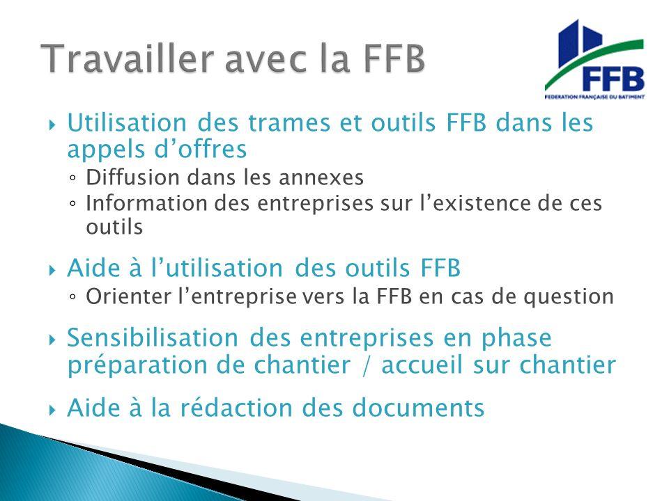 Travailler avec la FFB Utilisation des trames et outils FFB dans les appels d'offres. Diffusion dans les annexes.