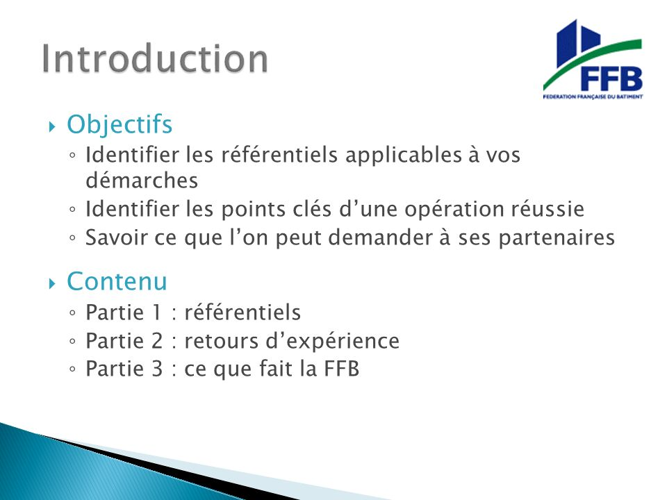 Introduction Objectifs Contenu