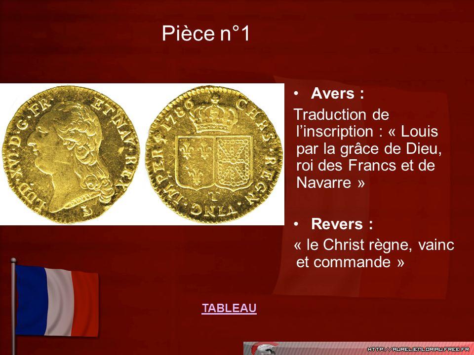 Pièce n°1Avers : Traduction de l'inscription : « Louis par la grâce de Dieu, roi des Francs et de Navarre »