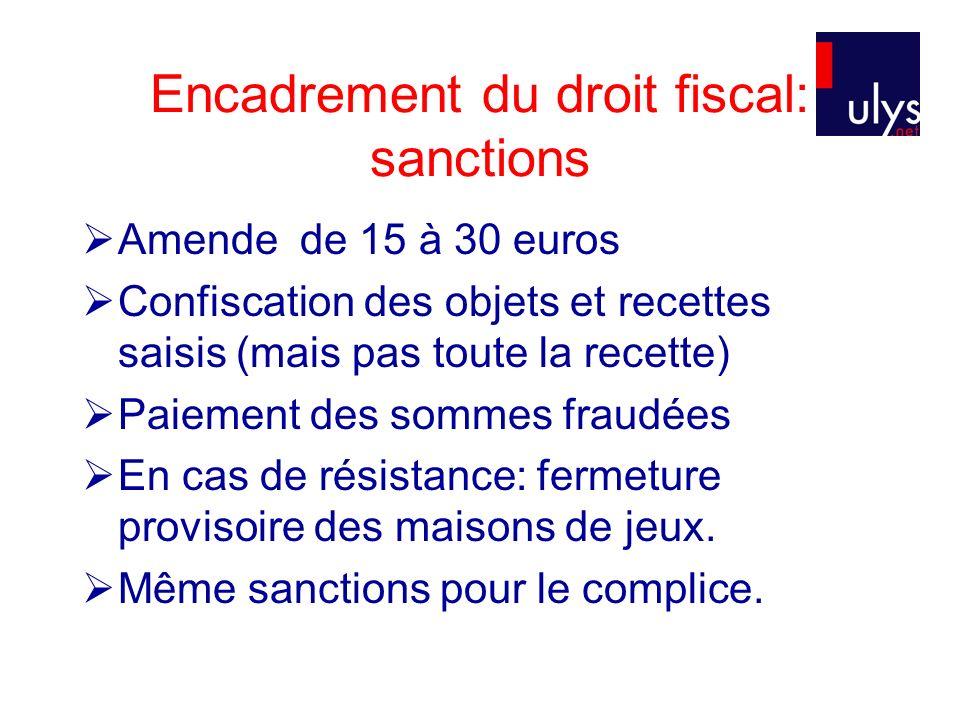 Encadrement du droit fiscal: sanctions