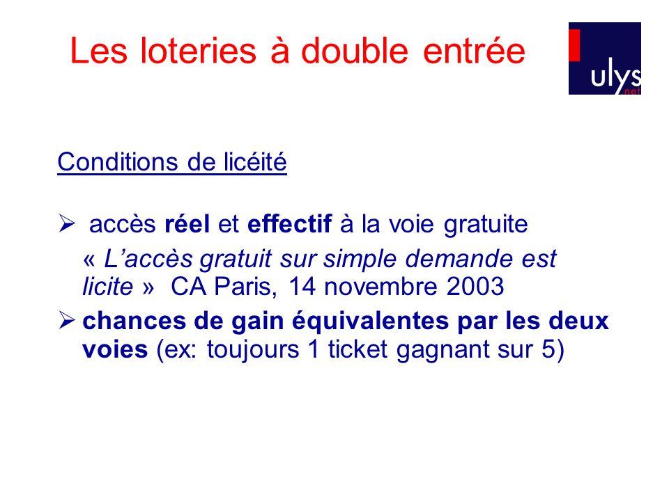 Les loteries à double entrée