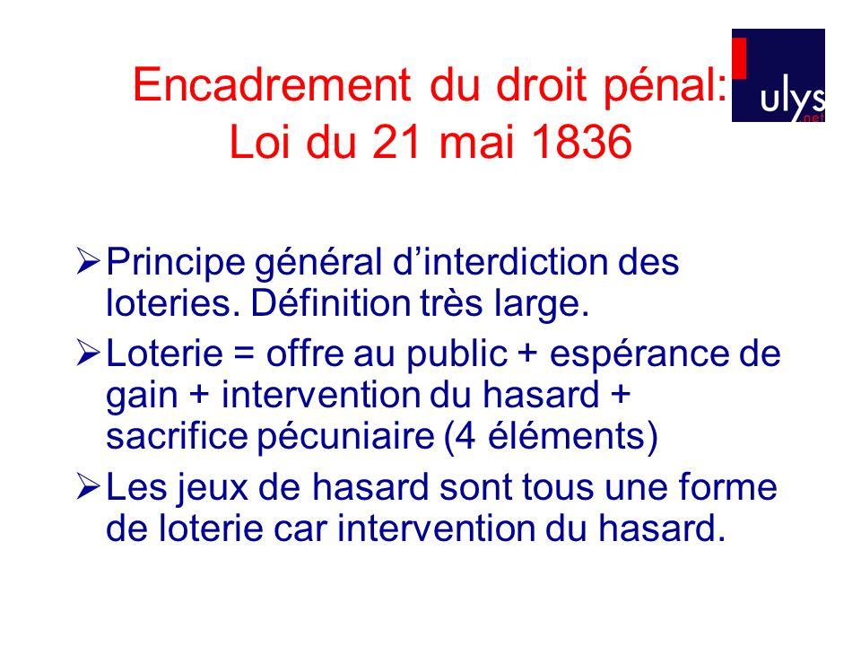 Encadrement du droit pénal: Loi du 21 mai 1836