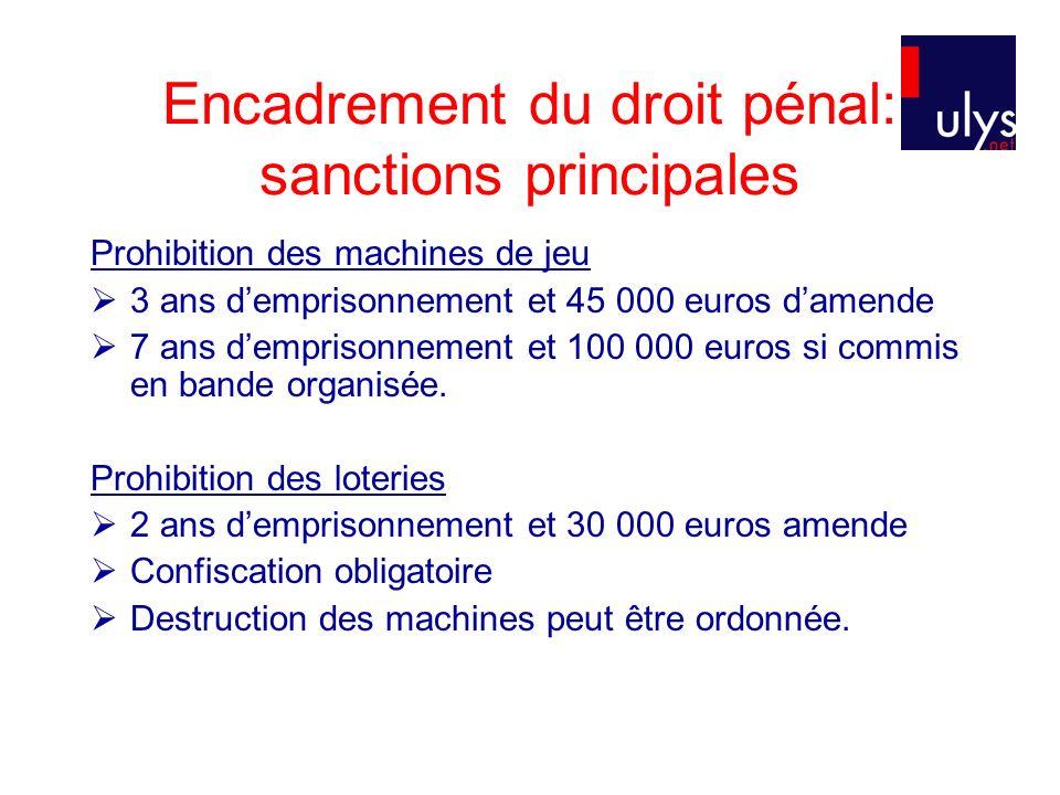Encadrement du droit pénal: sanctions principales
