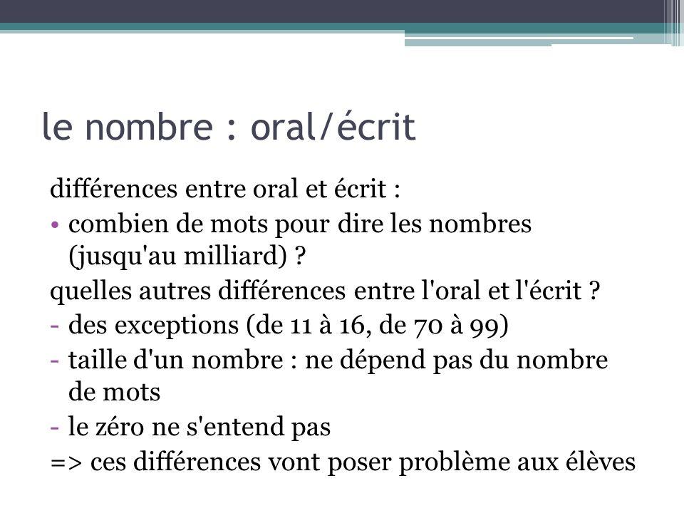 le nombre : oral/écrit différences entre oral et écrit :