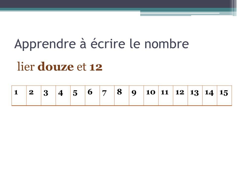 Apprendre à écrire le nombre