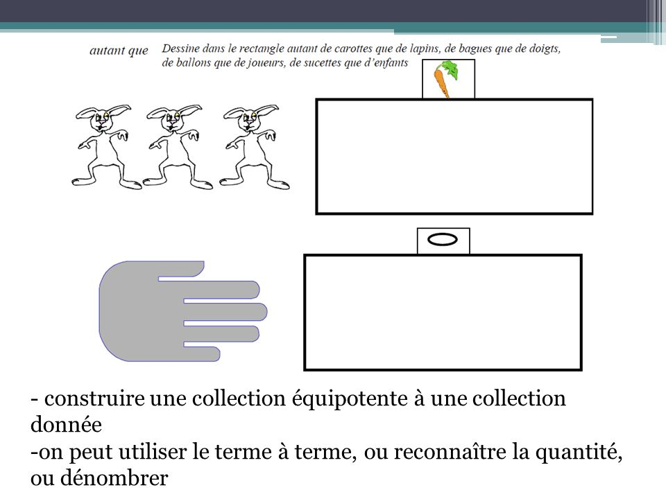 - construire une collection équipotente à une collection donnée