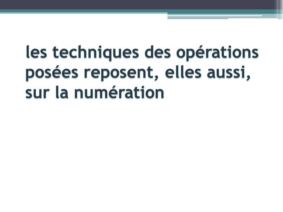 les techniques des opérations posées reposent, elles aussi, sur la numération