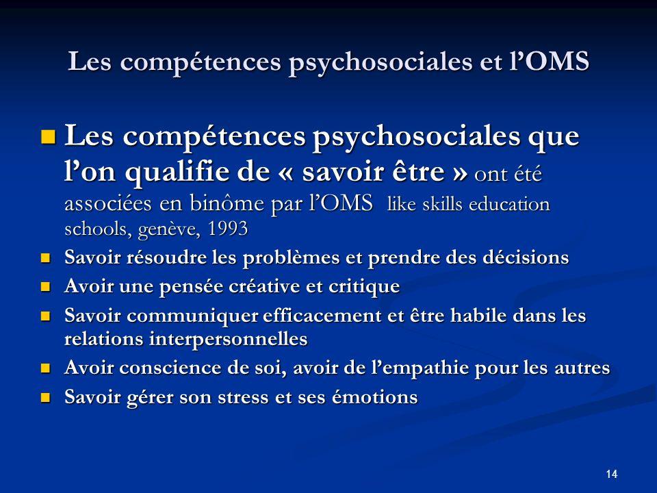 Les compétences psychosociales et l'OMS
